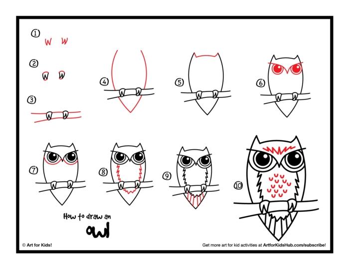come disegnare un gufo