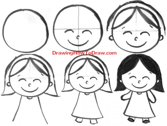 come disegnare una bambina