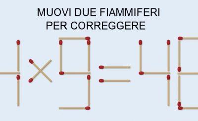 quiz di logica: muovi due fiammiferi